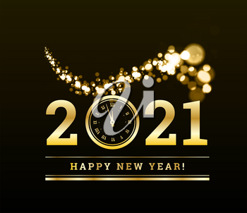 Happy New Year 2021 with gold particles and a clock in the number zero. Vector golden illustration on a dark background.