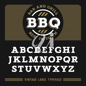 Vintage Font in egyptian style / Slab Serif type letters / Handmade Vintage Typeface for labels and posters