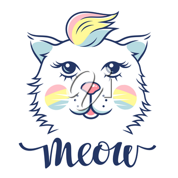 Cute cat for childish t-shirt design. Cute kitten vector illustration in rainbow colors