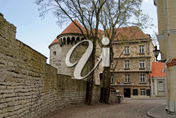 Royalty Free Photo of the Towers and Walls of the Old City in Tallinn