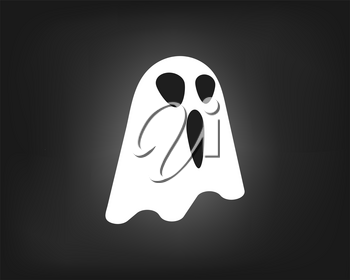 Illustration of ghostly character flying on a dark halloween night