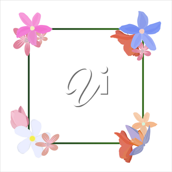 Tropical flowers around a frame copy space. Bright abstract background for banner, flyer or cover with copy space for text or emblem