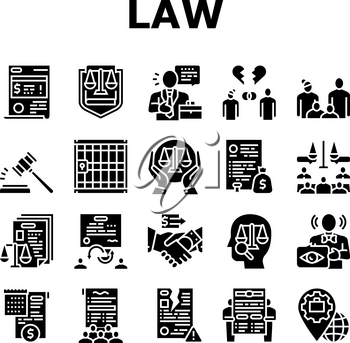 Law Justice Dictionary Collection Icons Set Vector. Family And Social Norms, Leasing And Breach Of Contract, Penalty And Divorce Law Glyph Pictograms Black Illustrations
