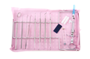 Royalty Free Photo of a Dentistry Kit on a Tray on a Pink Bib