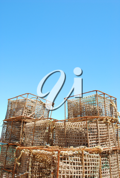 Royalty Free Photo of Fishing Cages in the Port of Cascais, Portugal