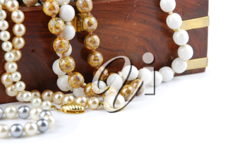 Royalty Free Photo of a Jewelry Box and Pearl Necklaces