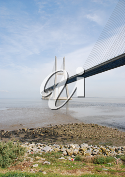 Royalty Free Photo of the Longest Bridge in Europe, Vasco da Gama