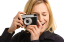 Royalty Free Photo of a Young Woman Taking a Picture