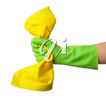 Royalty Free Photo of a Hand in a Green Glove Holding a Yellow Rag