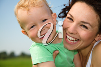 Royalty Free Photo of a Mother and Child Outdoors
