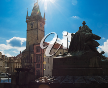 Old Municipal Tower and the Jan Hus Monument at Old Town  Prague Square