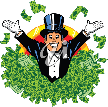 Royalty Free Clipart Image of a Man Throwing Money