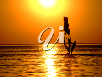 Royalty Free Photo of a Windsurfer at Sunset