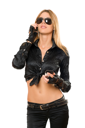 Royalty Free Photo of a Woman in Leather Wearing Sunglasses