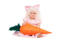 Royalty Free Photo of a Baby in a Costume Holding a Big Carrot