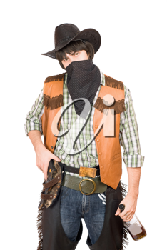 Royalty Free Photo of a Cowboy With a Whiskey Bottle