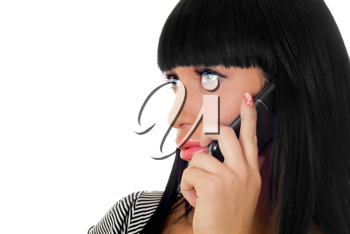 Royalty Free Photo of a Woman Speaking on a Phone