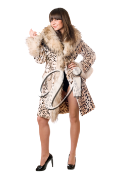 Royalty Free Photo of a Woman in a Leopard Skin Coat