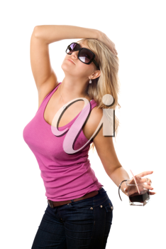 Royalty Free Photo of a Woman Wearing Sunglasses and Holding a Drink