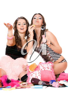 Royalty Free Photo of Two Girls Blowing Bubbles