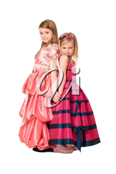 Two beautiful little girls in a long dress