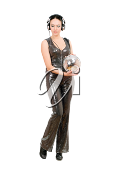 Brunette with a mirror ball in her hands