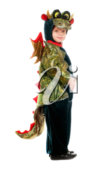 Little kid in a dragon costume. Isolated