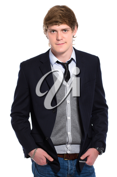 Young smiling man wearing jeans and jacket. Isolated on white