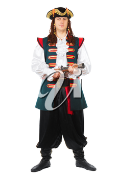 Young grinning man wearing pirate costume and cocked hat. Isolated on white