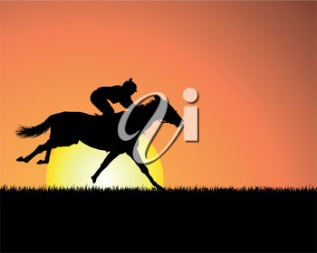 Royalty Free Clipart Image of a Person Riding a Horse at Sunset