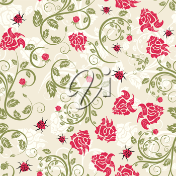 Seamless vector floral background. For easy making seamless pattern just drag all group into swatches bar, and use it for filling any contours.