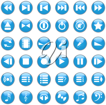 Collection of different icons for using in web design. Music.