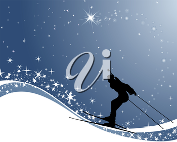 Royalty Free Clipart Image of a Biathlon Athlete