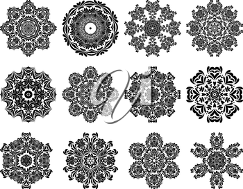 Set of 12 Circle Ornaments in Shape of Snowflakes.