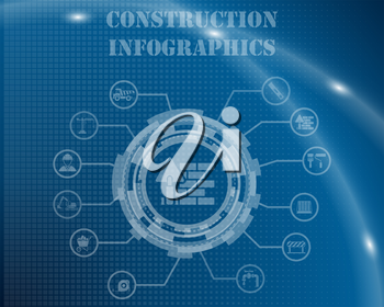 Construction Infographic Template From Technological Gear Sign, Lines and Icons. Elegant Design With Transparency on Blue Checkered Background With Light Lines and Flash on It. Vector Illustration.