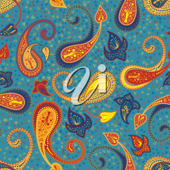 Multicolor Seamless Paisley Pattern Ornate. Elegant Design With Ideal Balanced Colors. Vector Illustration.