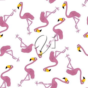 Seamless Pattern From Funny Cartoon Character Flamingo With Wide Smile Over White Background.  Tropical and Zoo  Fauna. Vector illustration.