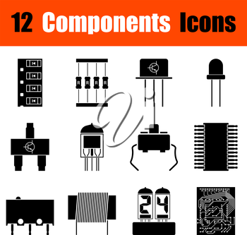 Set of twelve electronic components black icons. Vector illustration.