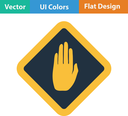 Flat design icon of Warning hand in ui colors. Vector illustration.