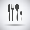Silverware set icon on gray background with round shadow. Vector illustration.