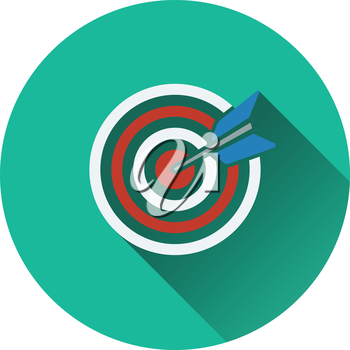 Icon of Target with dart. Flat design. Vector illustration.