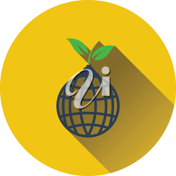 Planet with sprout icon. Flat design. Vector illustration.