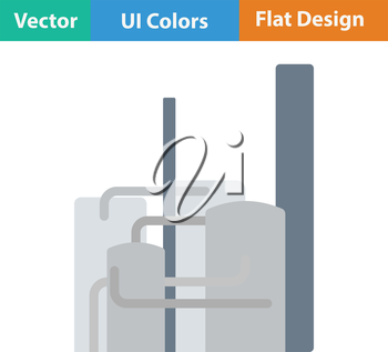 Chemical plant icon. Flat design. Vector illustration.