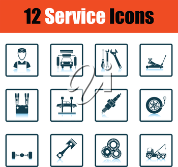 Set of twelve Service station icons. Shadow reflection design. Vector illustration.