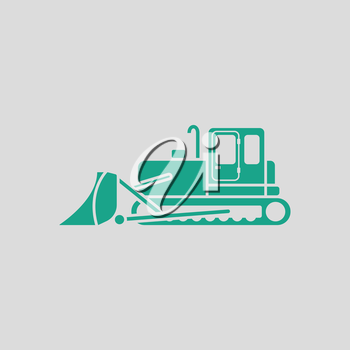 Icon of Construction bulldozer. Gray background with green. Vector illustration.
