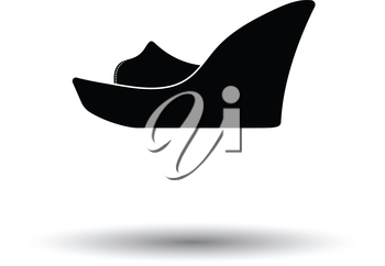 Platform shoe icon. White background with shadow design. Vector illustration.