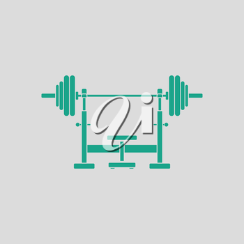 Bench with barbel icon. Gray background with green. Vector illustration.