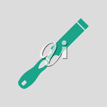Chisel icon. Gray background with green. Vector illustration.