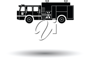 Fire service truck icon. White background with shadow design. Vector illustration.
