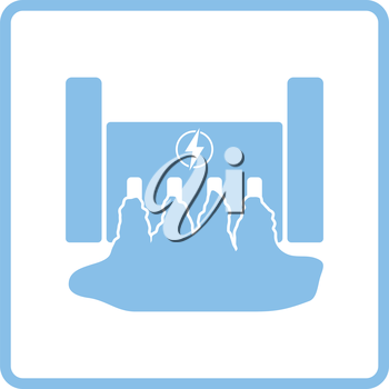 Hydro power station icon. Blue frame design. Vector illustration.